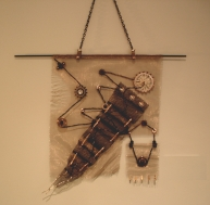 """Common Thread"" - Stainless Steel and Plastic Mesh, Leather cord, Various industrial parts"