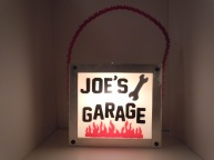 """Joe's Garage"" - Hand cut glass lettering/graphics"