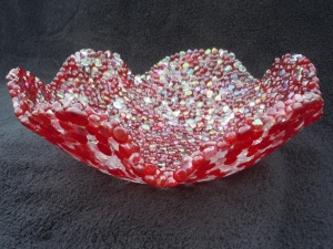 Birthstone Series: July - Ruby and Moonstone bowl
