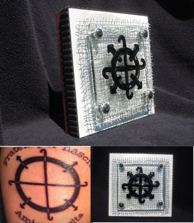 """Tattoo for Sarah"" - Custom, hand cut kiln formed glass; hardware fabric and industrial parts. Approx. 8"" sq."